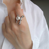 Obsession Statement Cocktail Ring Sterling silver Large Pearl CZ Wedding Prom Formal