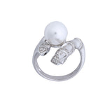Obsession Ring 925 Sterling silver Large Shell Pearl CZ Wedding Prom Formal
