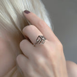 Cube Geometric Sterling Silver Ring