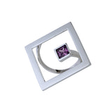 Ring Geometry Square Silver Purple CZ