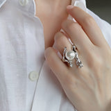 Obsession Sterling Silver Cocktail Ring Large Pearl CZ Wedding Prom Formal