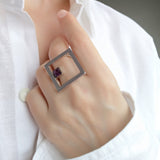 Square Large Geometrical Silver Statement Ring Contemporary Unusual Jewelry