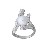 Obsession Ring Large Pearl CZ Sterling Silver Unusual Jewellery Wedding Prom Formal