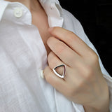 Geometrical Triangle Ring Sterling Silver Contemporary Jewelry
