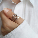 Intrigue Wide Band Thumb Ring Sterling Silver Pearl