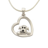 Dog And Heart Sterling Silver Pendant Necklace