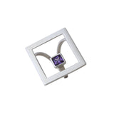 Ring Geometric Large Square Open Purple Stone