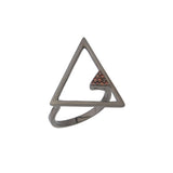 Triangle Black Contemporary Geometrical Sterling Silver Ring