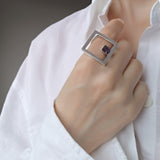 Square Large Geometrical Statement Ring Purple Cubic Zirconia Modern Trendy Jewelry
