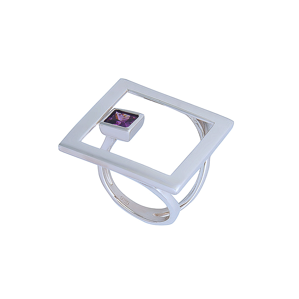 Large Statement Square Geometric Silver Ring