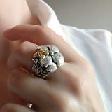Floral Sterling Silver Gold Bee Statement Ring