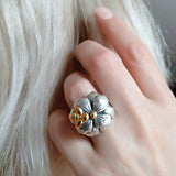 Silver Flower Gold Bee Ring