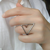 Triangle Sterling Silver Black Ring Contemporary Geometrical Modern Jewellery
