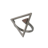Triangle Black Contemporary Geometrical Sterling Silver Ring Cubic Zirconia Brown Stones
