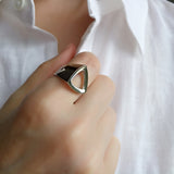 Triangle Geometrical Simple Ring Sterling Silver Contemporary Jewellery
