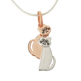 Two Cats Pendant Necklace Sterling Silver Rose Gold