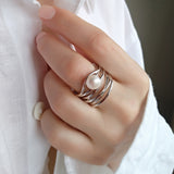 Intrique Sterling Silver Statment Wide Band Pearl Contemporary Ring