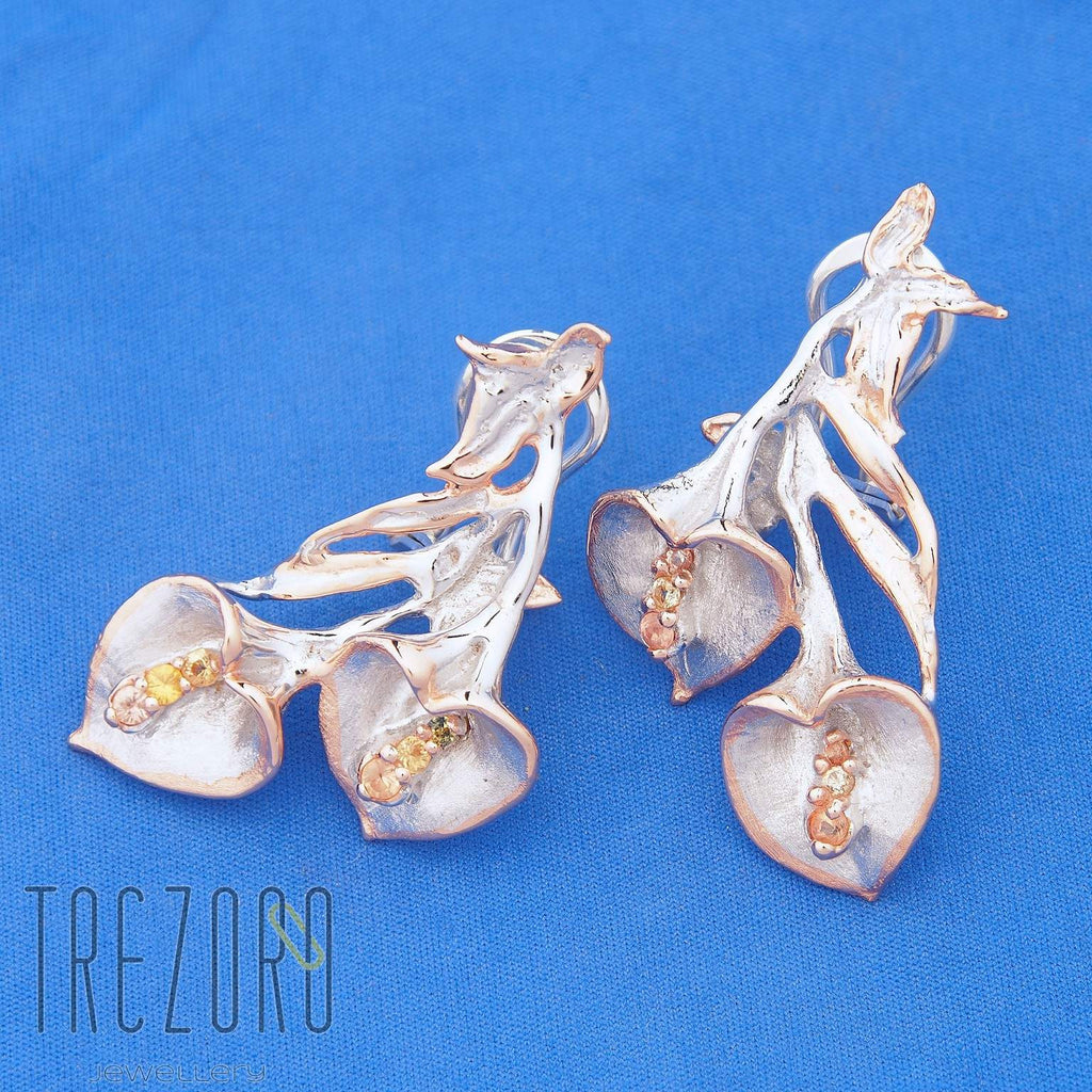 "Earrings Sterling Silver wiht Citrine ""Peace Lily"" Trezoro Jewellery Online Store"
