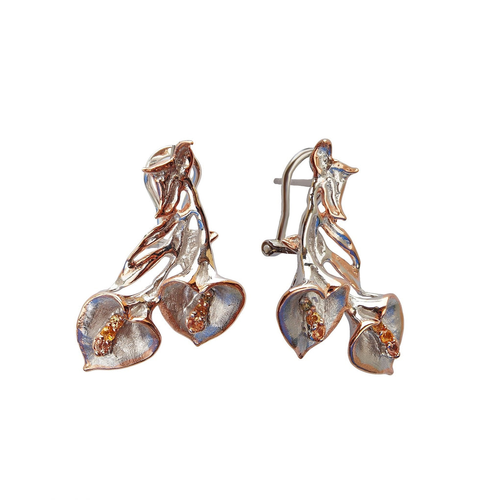 Peace Lily Earrings Sterling Silver Natual Citrine Gemstones Trezoro Jewellery Online Store