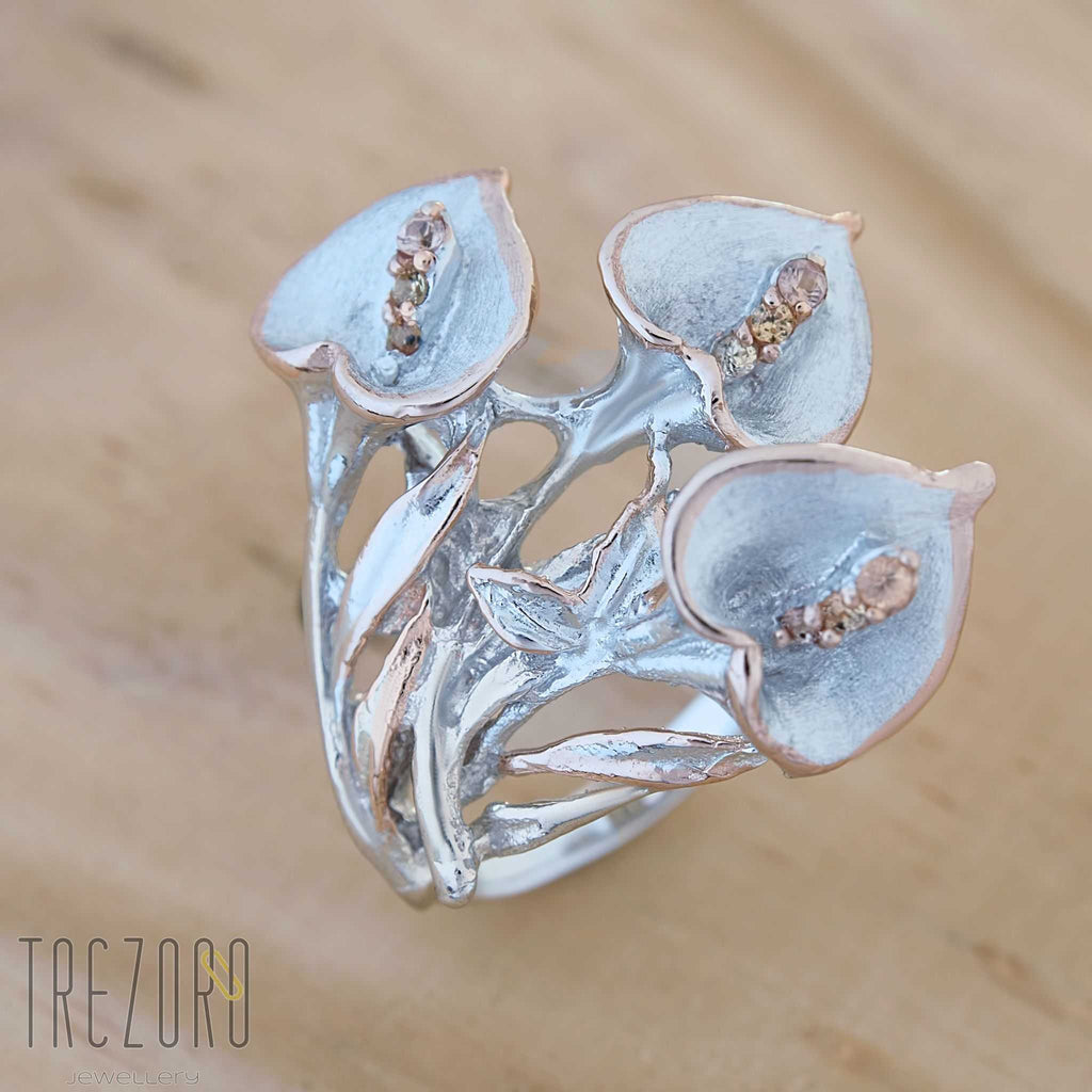 "Ring Sterling Silver Natural Citrine ""Peace Lily""- Trezoro Jewellery Online Store"