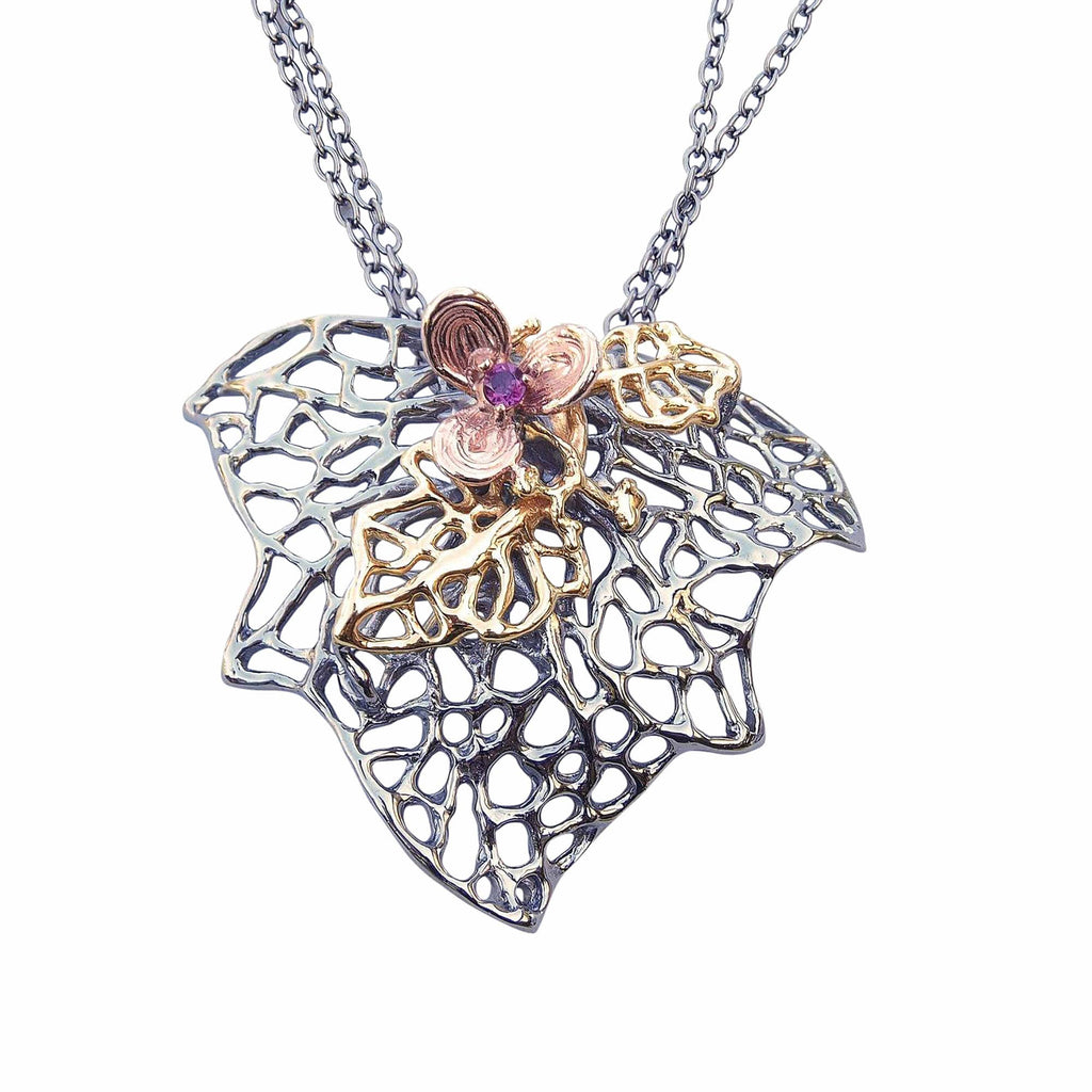 Leaves and Flower Necklace Sterling Silver Black Oxidised Rhodolite Garnet