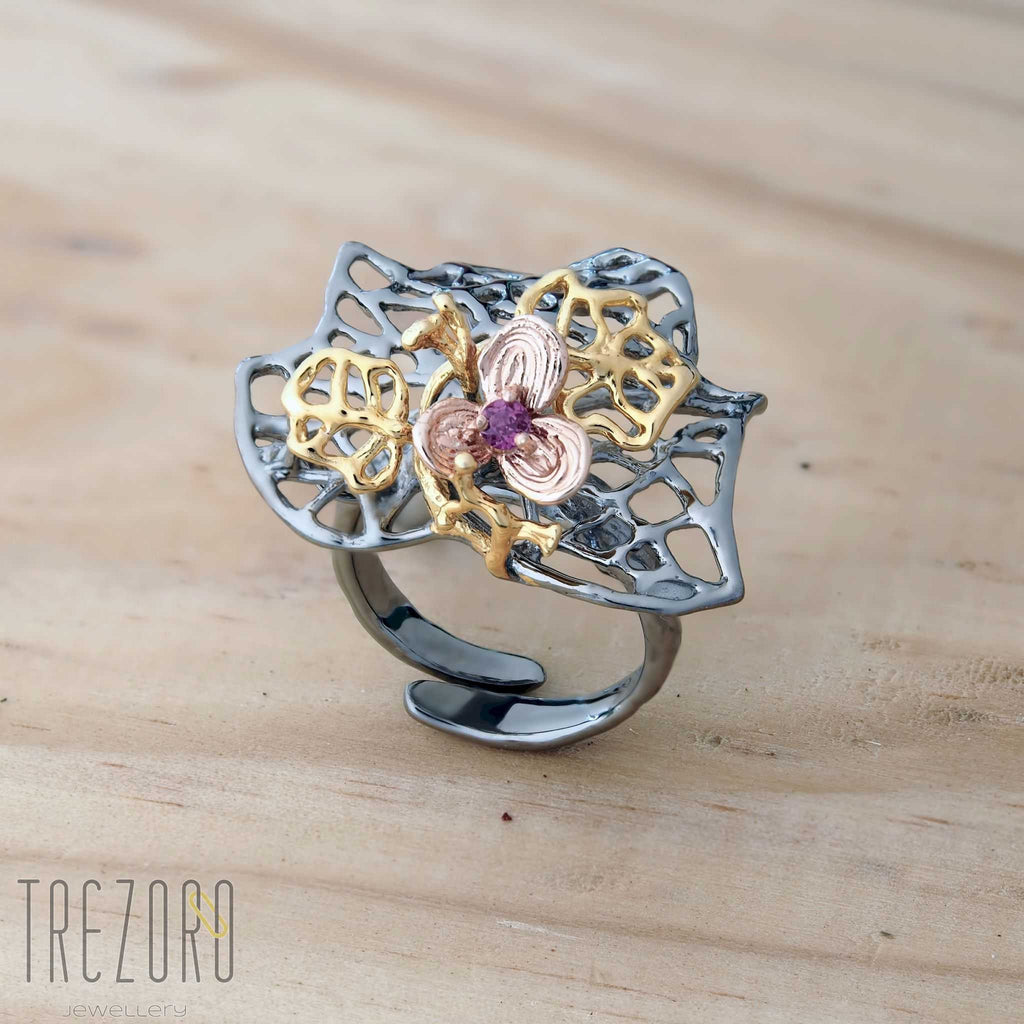 Leaves and Flower Designer Ring. Oxidised Sterling Silver with Gold Plating Trezoro Online Jewellery Store