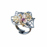 Cocktail Statement Ring Large Black Sterling Silver Pink Garnet -Leaves and Flower