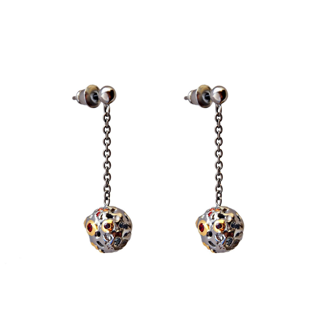 Sapphire Orange Black Sterling Silver Drop earrings Contemporary Design Trezoro Jewellery Online