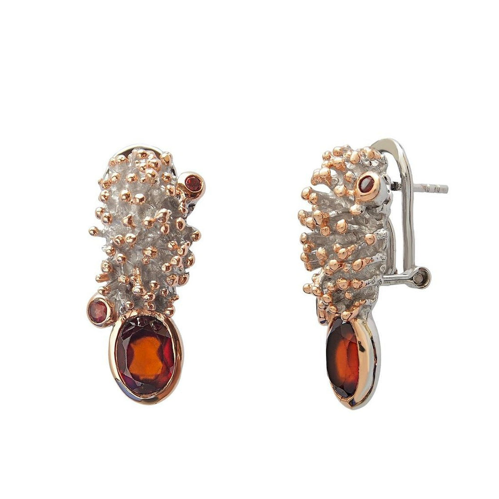 Sterling Silver Gold Plated Garnet Gemstone Earrings Jewellery Online Store Trezoro