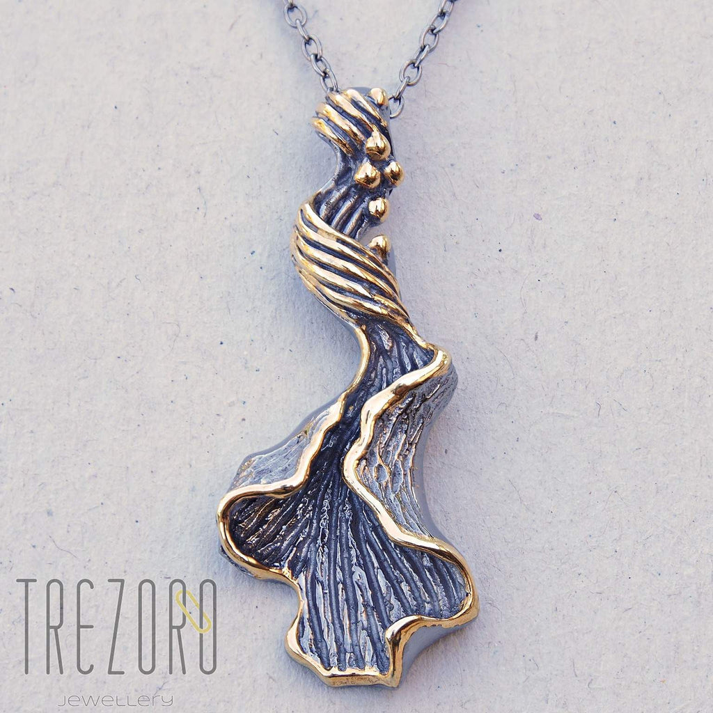 Magnetic Necklace Long Sterling Silver Oxidised Black Contemporary Design Trezoro ONline Jewellery