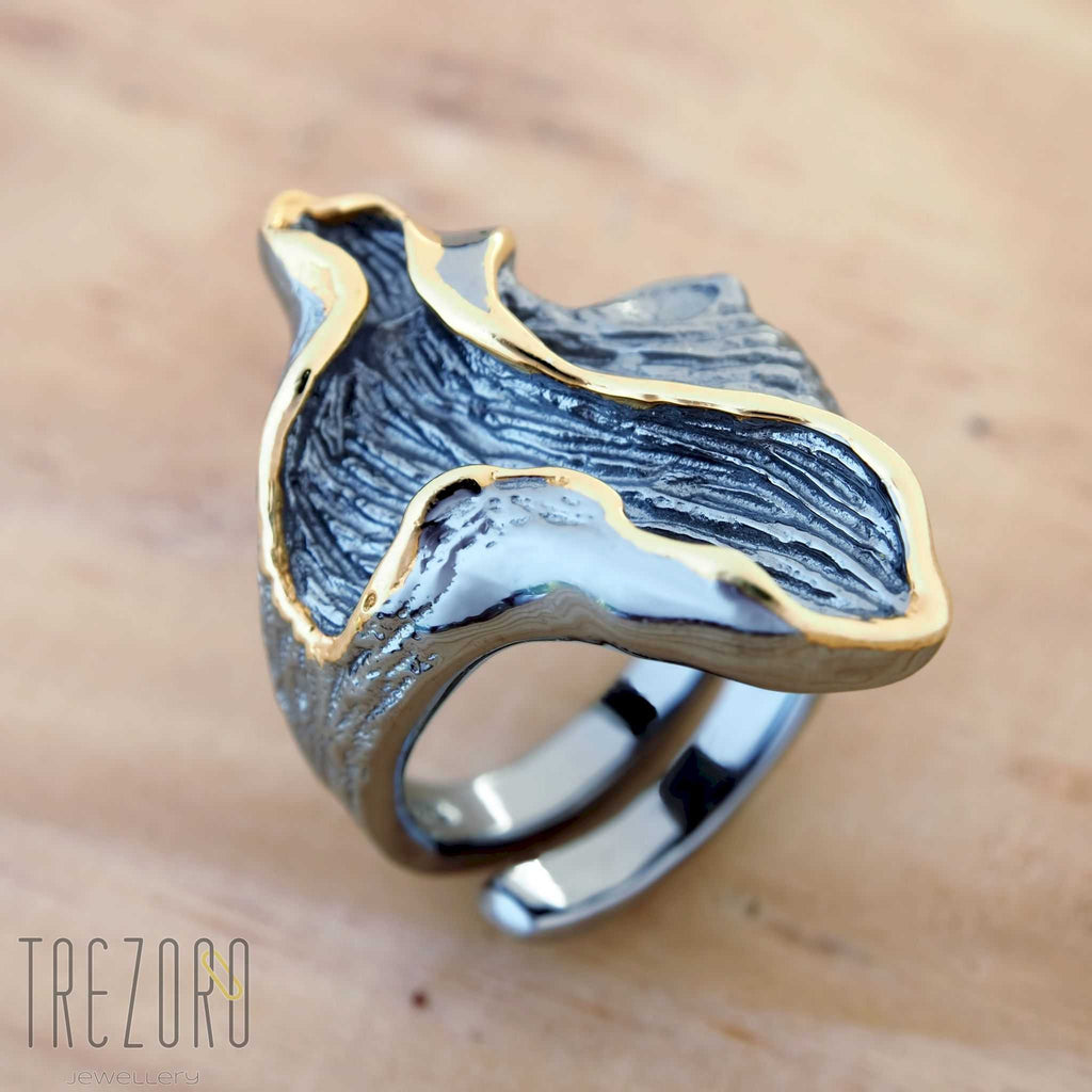 Magnetic Ring Oxidised Black Sterling Silver Gold Plated Modern Desing Trezoro Jewellery Online Store