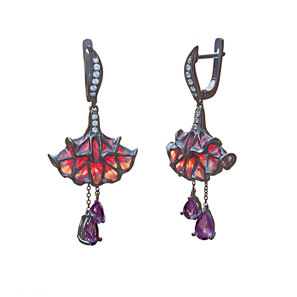 Ballerina Earrings Sterling Silver Red Enamel CZ - Trezoro Jewellery Online Store