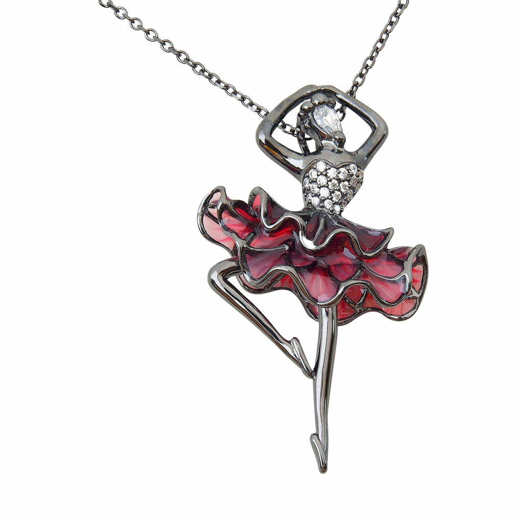 Ballerina Dancer Necklace Sterling Silver Red Glass Jewellery Online