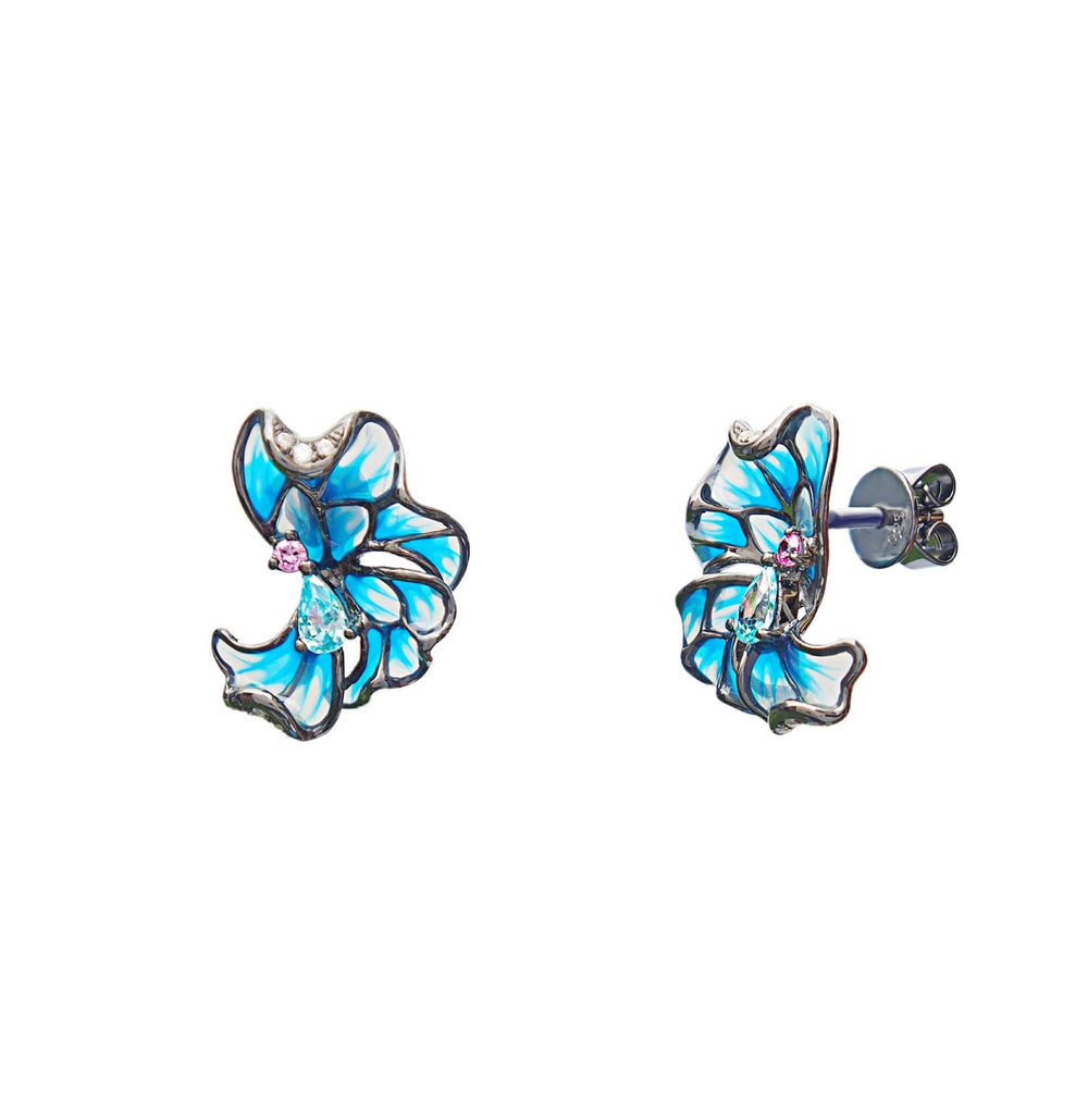 Earrings Flower - Blue Enamel, Sterling Silver and CZ - Trezoro Glass Jewllery Online