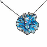 Flower Necklace Glass Jewellery Sterling Silver Blue Enamel Handmade Online Shop Australia