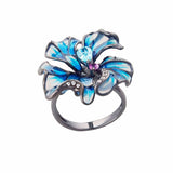 Flower Large Statement Cocktail Ring Black Sterling Silver Blue Enamel Glass Jewelllery Online Buy Australia