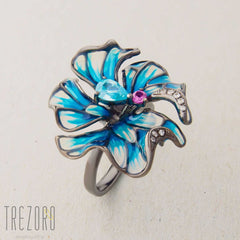 Flower Ring sterling silver enamel