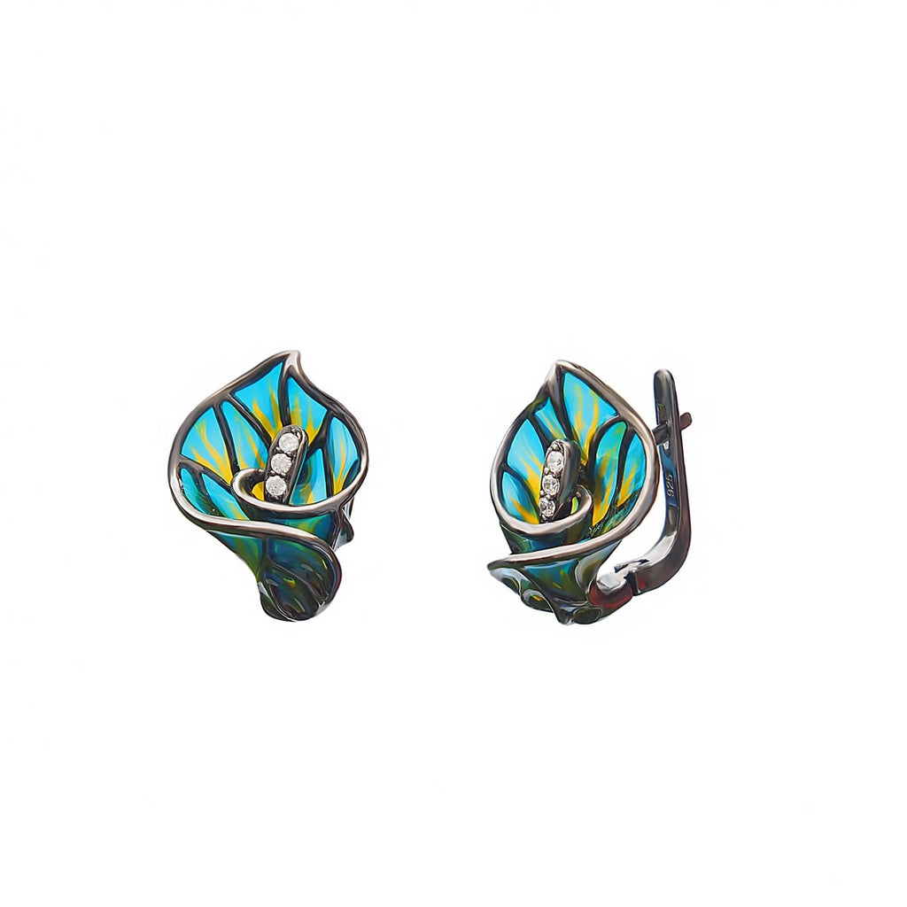 Earrings Sterling Silver Enamel Arum Lily - Trezoro Jewellery Online Store