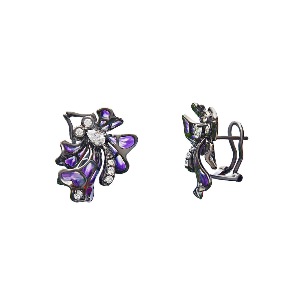 Butterfly Purple Enamel Earrings, Sterling Silver, CZ - Trezoro Glass Jewellery Online