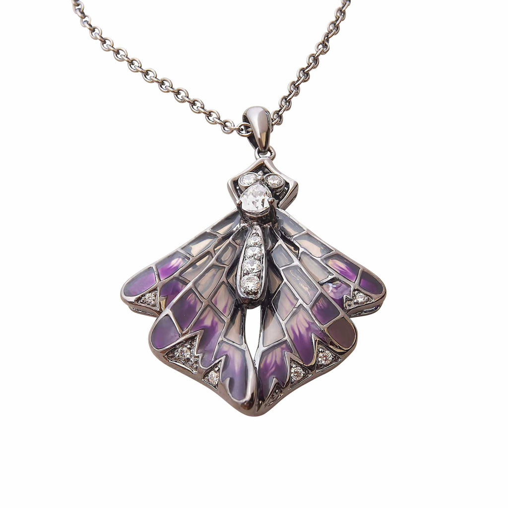 Butterfly Necklace Glass Jewellery Sterling Silver Purple Enamel Unusual Jewellery Australia