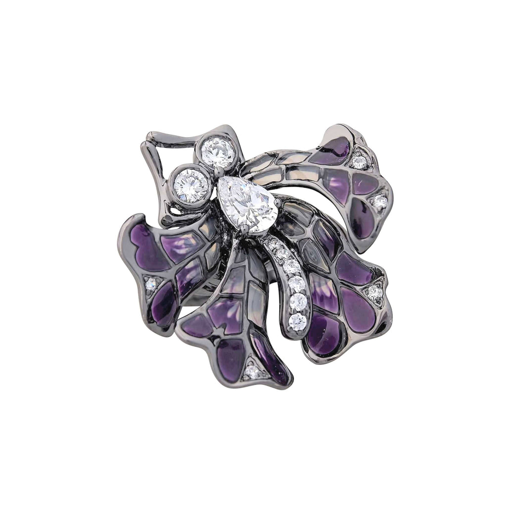 Butterfly Statement Cocktail Large Ring Glass Jewellery Trezoro Online Australia