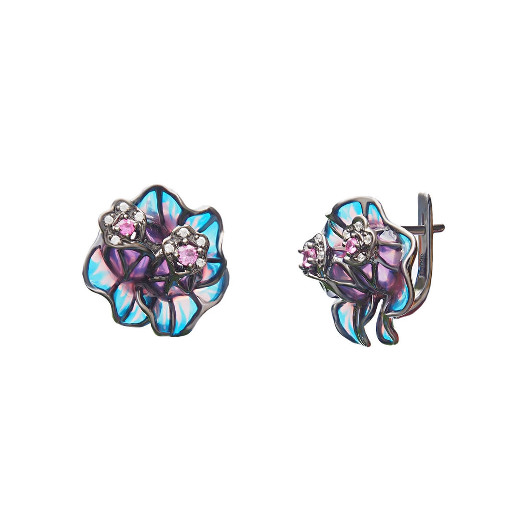 Earrings Nectar Sterling Silver Black Glass Blue Purple Special Event Prom Jewellery