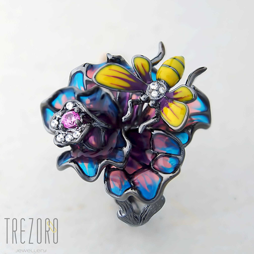 Nectar Large Statment Ring. Oxidised sterling silver with enamel and glass inserts with Cubic Zirconia.