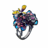Statement Cocktail Ring Bee Flower Sterling Silver Enamel Glass Jewellery Shop Australia