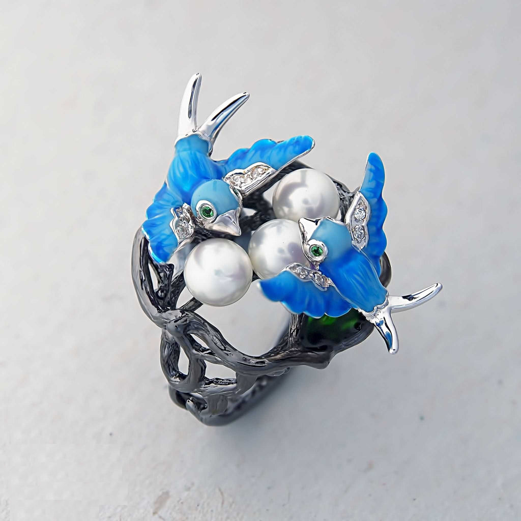 Birds Ring . Oxidised Sterling Silver, Pearl with Enamel Inserts and Cubic Zirconia by Gigi Cheng - Trezoro Jewellery Online Store