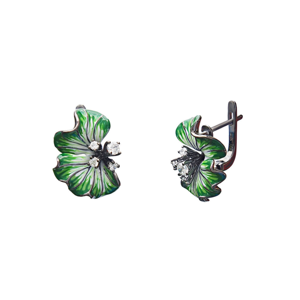 Green Enamel Earrings Blossoms. Sterling silver with CZ - Trezoro Jewellery Online