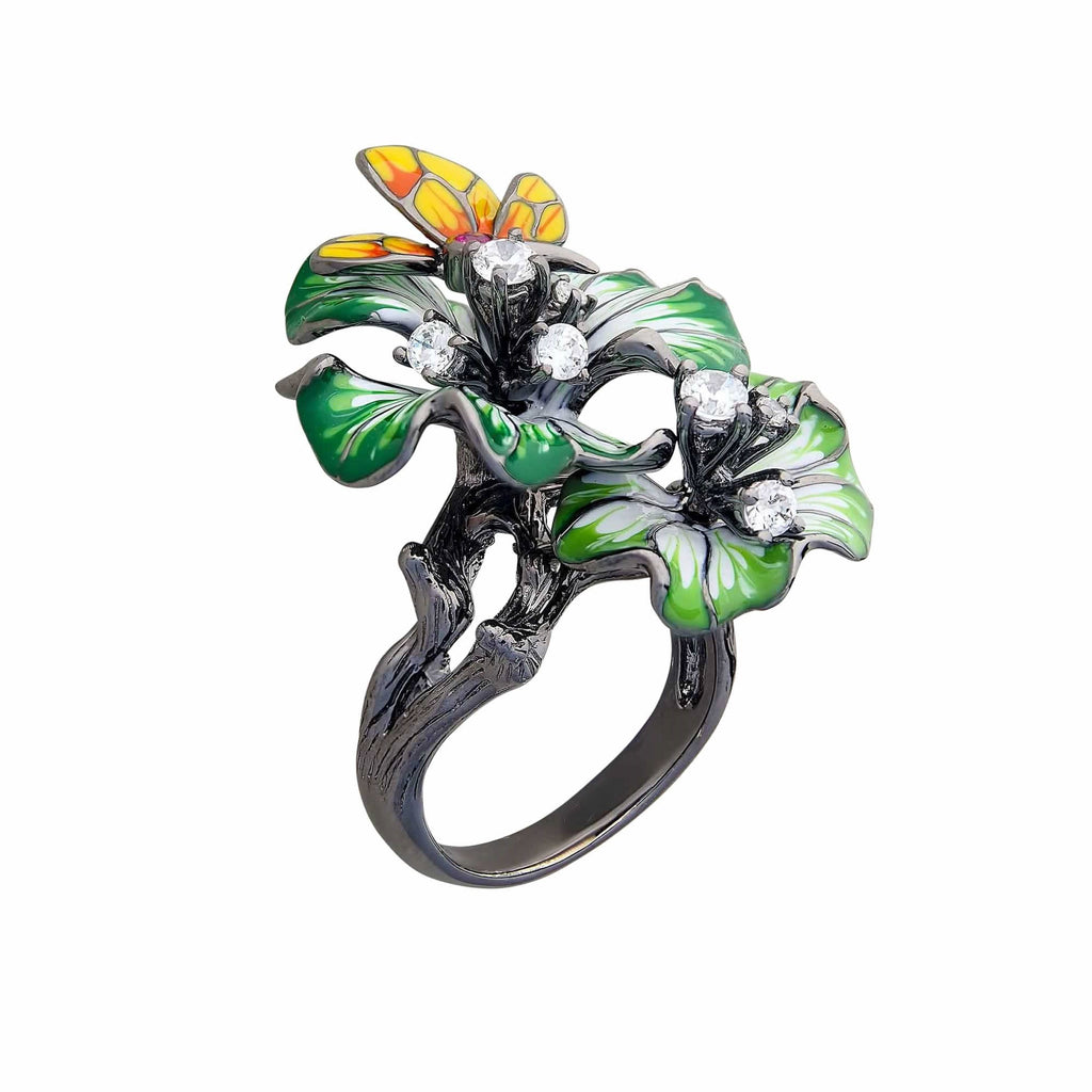 Statement Cocktail Ring Large Green Enamel Sterling Silver Black Oxidised Butterfly