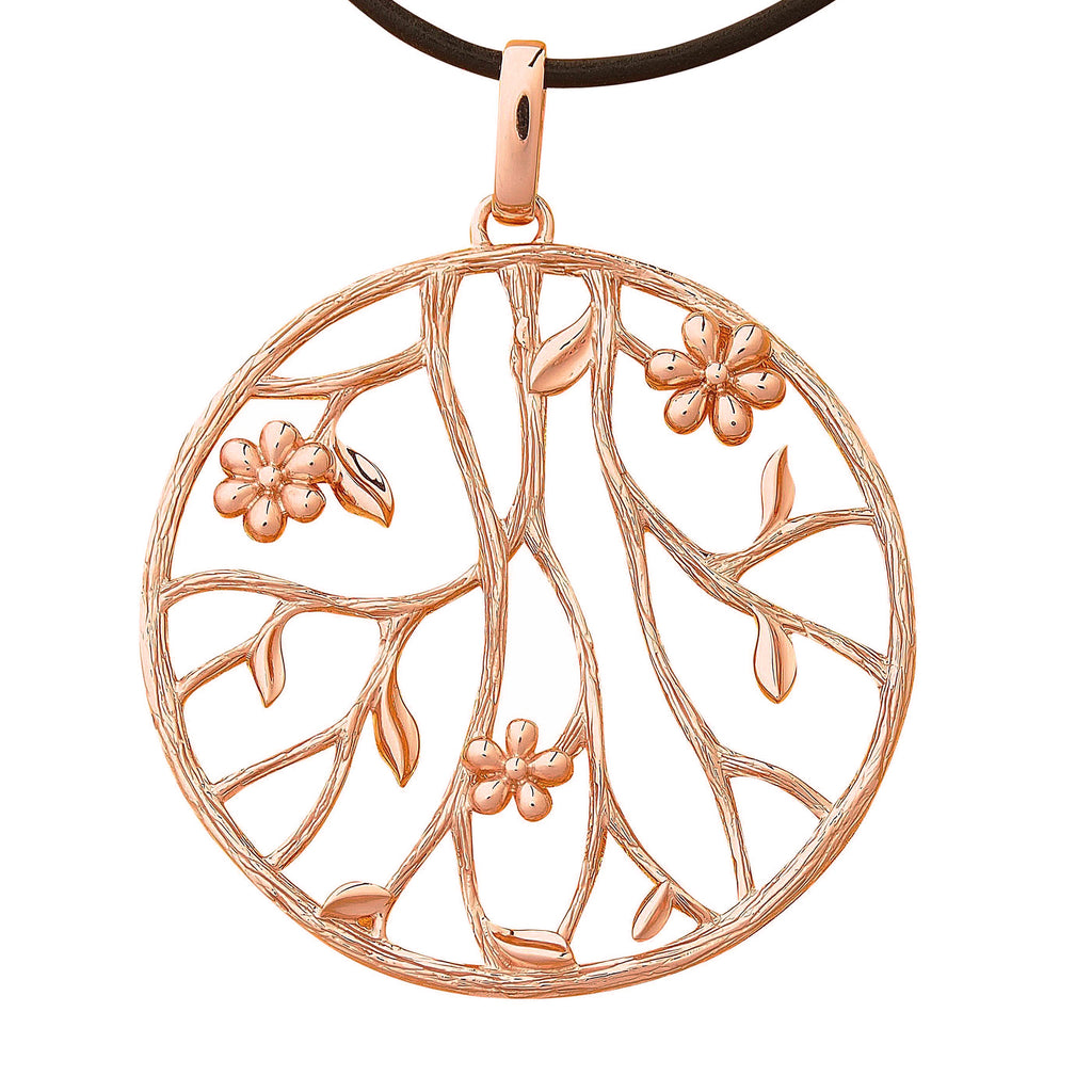 Large Massive Floral Rose Gold Sterling Silver Pendant Necklace Leather Cord Unusual Jewelry