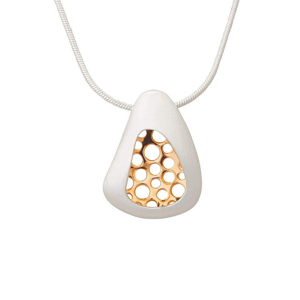 Small Golden Sterling Silver Pendant Necklace Contemporary Geometric Jewellery Online