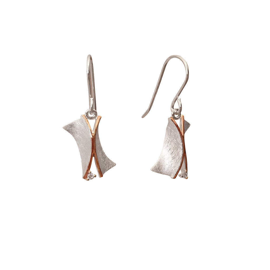Contemporary Modern Style Sterling Silver Earrings Cubic Zirconia Australia Jewellery